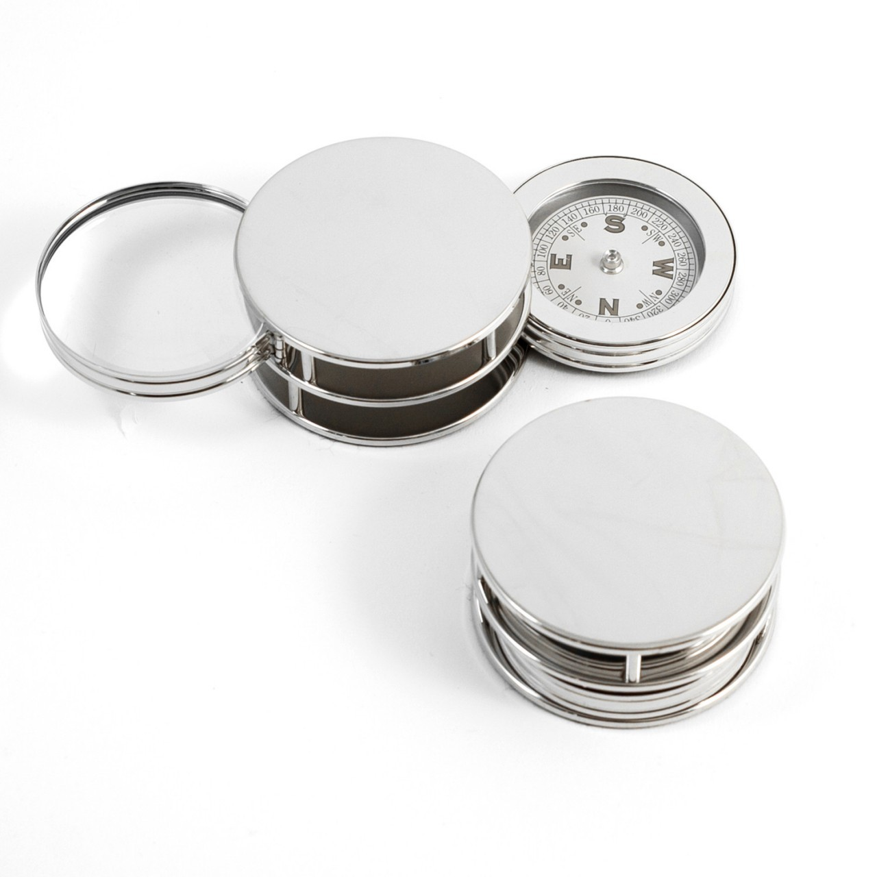 Chrome Plated Paper Weight with Compass with Magnifier