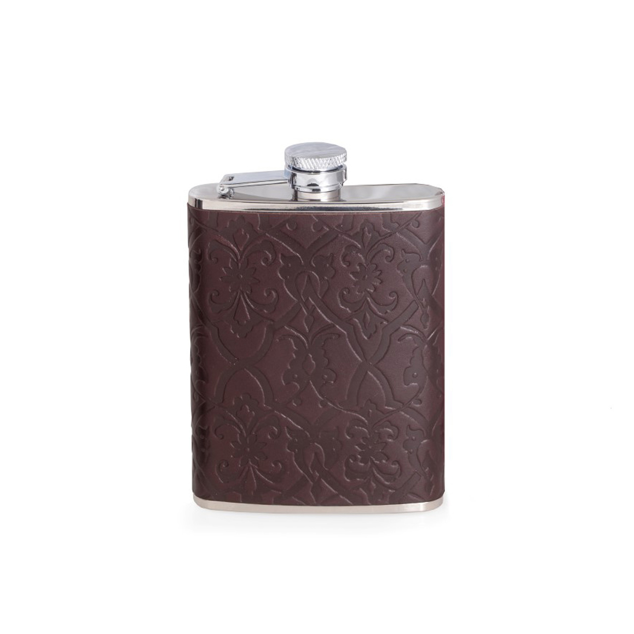 Stainless Steel Flask in Brown Leather Vintage Design