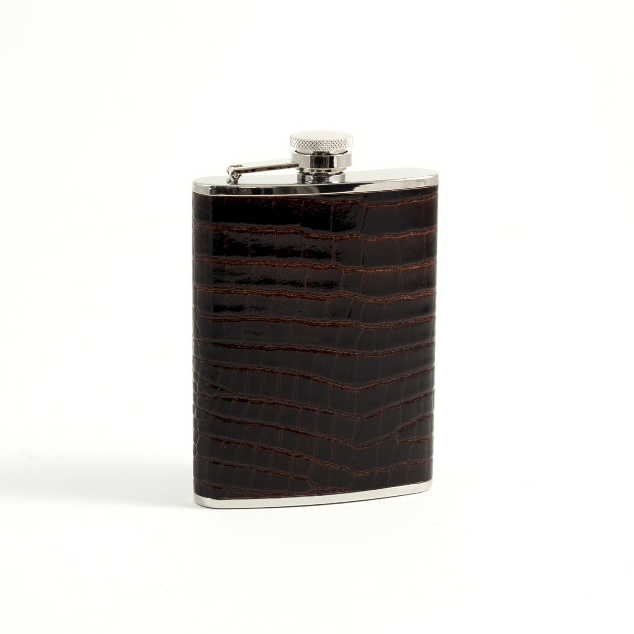 Stainless Steel Flask - Brown Croco Leather