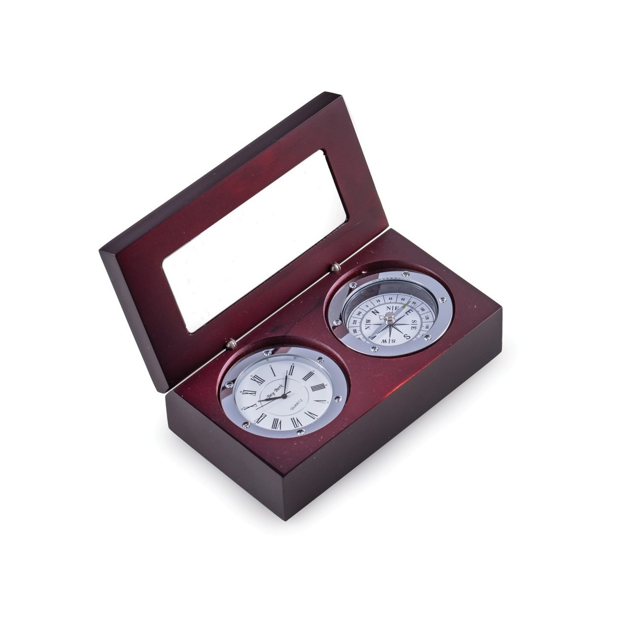 Clock & Compass in Wooden Box